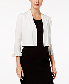 Calvin Klein Ribbed Bell-Sleeve Shrug