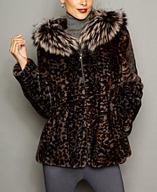 The Fur Vault Animal-Print Mink Fur Fox-Trim Jacket