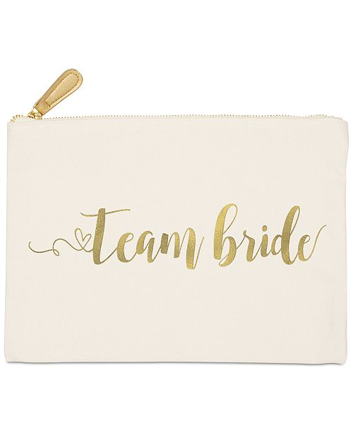Cathy's Concepts Gold Foil Team Bride Canvas Clutch