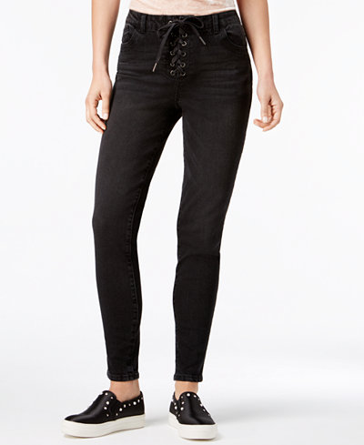 REWIND Juniors' Lace-Up Skinny Jeans