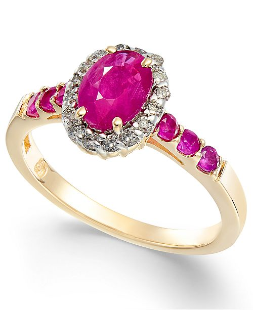 Macy's Ruby (1-1/3 ct. t.w.) & Diamond (1/6 ct. t.w.) Halo Ring in 14k Gold