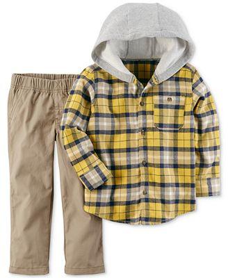 Carter's 2-Pc. Hooded Plaid Shirt & Pants Set, Toddler Boys