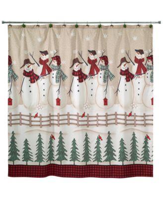 Snowman Gathering Shower Curtain