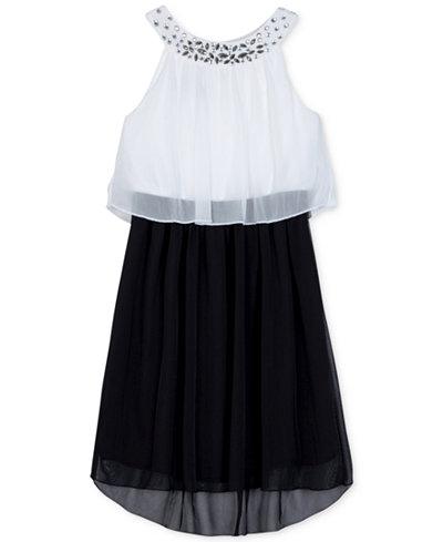 BCX Embellished-Neck Popover Party Dress, Big Girls