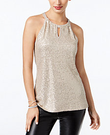 I.N.C. Sequinned Halter Top, Created for Macy's