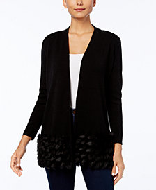 Alfani Petite Faux-Fur Trim Cardigan, Created for Macy's