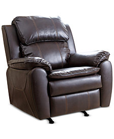 Pierre Leather Rocker Recliner, Quick Ship