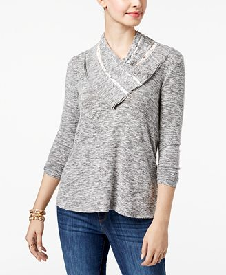 Style & Co Petite Lace-Trim Cowl-Neck Top, Created for Macy's