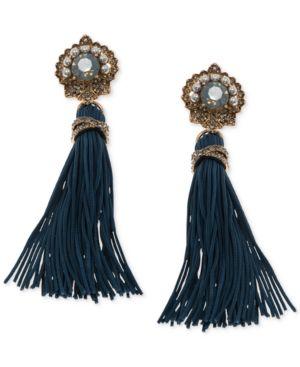 Marchesa Gold Tone Crystal Imitation Pearl Tassel Drop Earrings