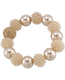 Carolee Gold-Tone Brown Imitation Pearl Large Bead Bangle Bracelet