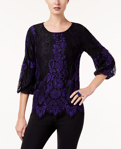Alfani Petite Bubble-Sleeve Lace Top, Created for Macy's