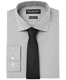 Nick Graham Men's Fitted Chambray Dress Shirt & Houndstooth Tie Set
