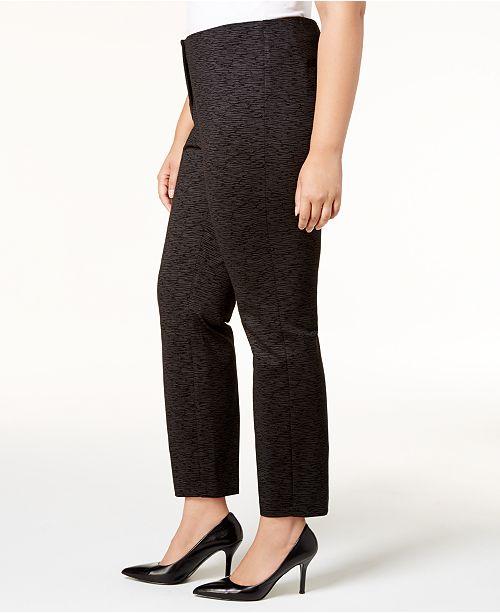 a348cec92325e Alfani Plus Size Metallic Pont eacute -Knit Slim Pants