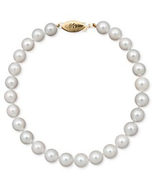 "Belle de Mer Pearl Bracelet, 7-1/2"" 14k Gold A+ Akoya Cultured Pearl Strand (6-6-1/2mm)"