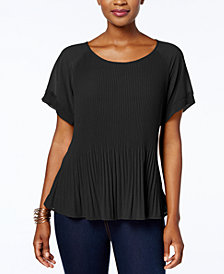 NY Collection Petite Pleated Top