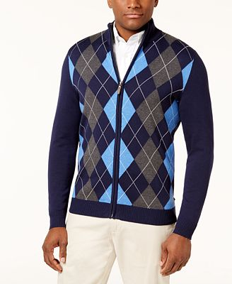 Club Room Mens Argyle Full Zip Pima Cotton Sweater Created For