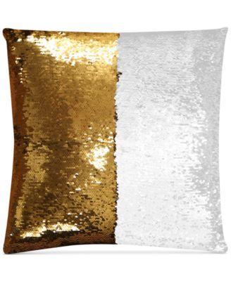"Mermaid Colorblocked White & Gold Sequin 18"" Square Decorative Pillow"