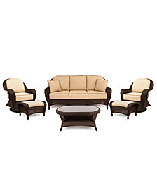 Monterey Outdoor Wicker 6-Pc. Seating Set with Sunbrella® Cushions  (1 Sofa, 2 Swivel Gliders, 2 Ottomans and 1 Coffee Table), Created for Macy's
