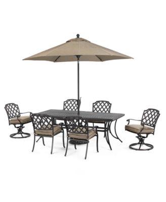 Grove Hill Outdoor Cast Aluminum 7 Pc Dining Set 84 X 38