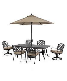 """CLOSEOUT! Grove Hill Outdoor Cast Aluminum 7-Pc. Dining Set (84"""" x 38"""" Dining Table, 4 Dining Chairs and 2 Swivel Rockers)"""