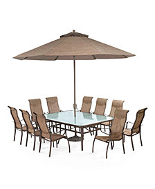 "Oasis Outdoor Aluminum 14-Pc. Dining Set (84"" x 60"" Dining Table, 10 Dining Chairs, 2 Chaise Lounges and 1 End Table), Created for Macy's"