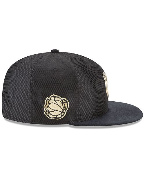 24163cd0db5 New Era Memphis Grizzlies On-Court Black Gold Collection 9FIFTY Snapback  Cap ...