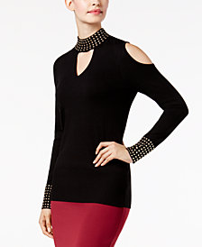 Thalia Sodi Studded Mock-Neck Cold-Shoulder Sweater, Created for Macy's