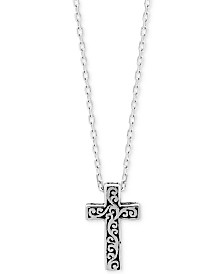 Lois Hill Filigree Cross Pendant Necklace in Sterling Silver