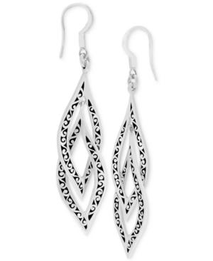 Filigree Curved Link Drop Earrings in Sterling Silver