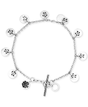 Disc Charm Bracelet in Sterling Silver