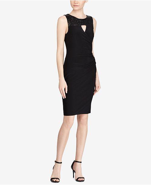 Macys Outlet Nj: Lauren Ralph Lauren Petite Sequin-Trim Jersey Dress