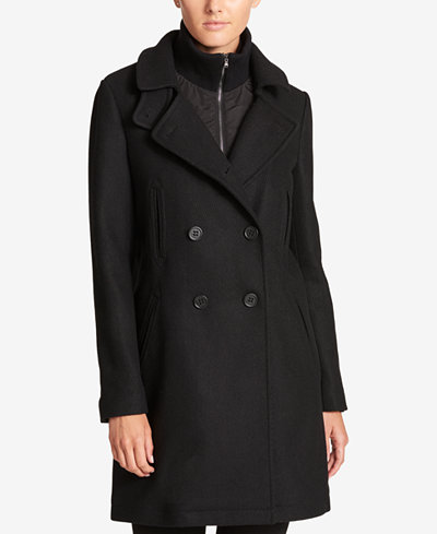 DKNY Double-Breasted Wool-Blend Walker Coat With Inner Vest ...