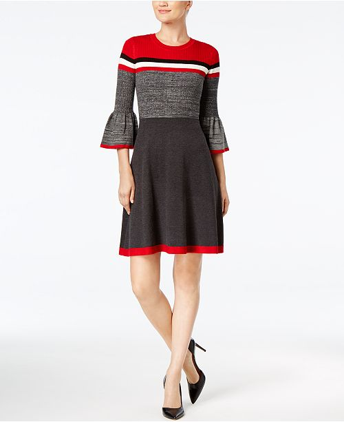 c228ac5c9b00 Jessica Howard Striped Bell-Sleeve Fit & Flare Sweater Dress ...