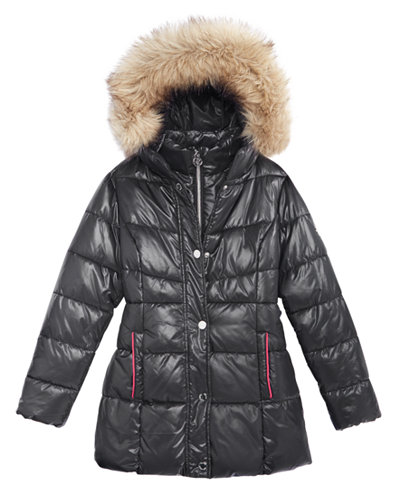 Michael Kors Girls' Stadium Puffer Jacket with Faux-Fur Trim, Big ...