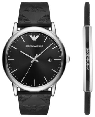 Emporio Armani Men's Black Leather Strap Watch 43mm Gift Set ...
