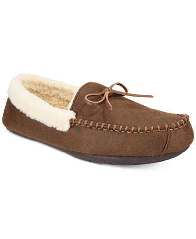Club Room Men's Bomber Memory Foam Moccasin Slippers, Created for Macy's