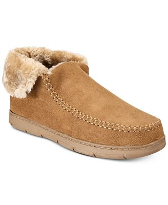 Club Room Men's Moccasin Memory Foam Bootie Slippers, Created for Macy's