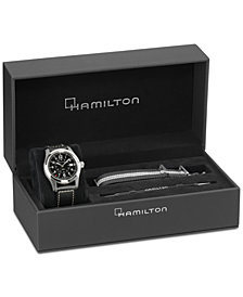 Hamilton Men's Swiss Automatic Khaki Field Black Canvas Strap Watch 42mm, Created for Macy's