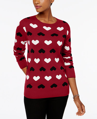 Charter Club Petite Heart-Print Sweater, Created for Macy's