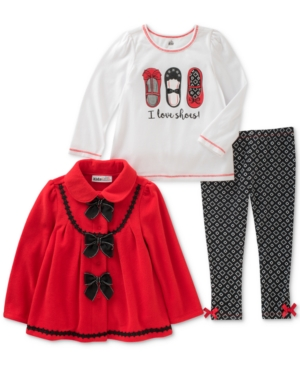 Kids Headquarters 3Pc Fleece Jacket TShirt  Leggings Set Toddler Girls (2T5T)