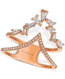 "Le Vian® Baguette Frenzy Diamond Double ""V"" Ring (1/2 ct. t.w.) in 14k Rose Gold"