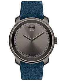 Movado Men's Swiss BOLD Blue Suede Strap Watch 43mm