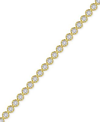 Diamond Miracle Line Tennis Bracelet 1 4 ct t w in 18k Gold