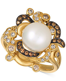 Le Vian Chocolatier® Cultured Freshwater Pearl (9-1/2mm) & Diamond (3/8 ct. t.w.) Ring in 14k Gold