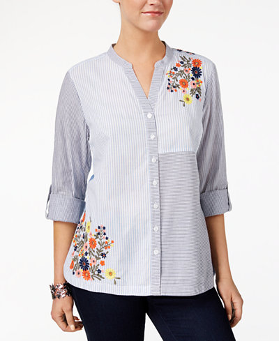 Style & Co Cotton Embroidered Colorblocked Shirt, Created for Macy's