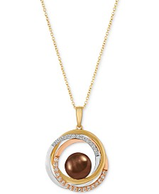 Le Vian® Cultured Tahitian Brown Pearl (10-1/2mm) & Diamond (1/3 ct. t.w.) Pendant Necklace in 14k Gold, White Gold & Rose Gold