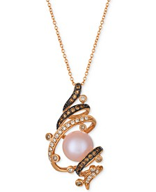 Chocolatier® Strawberry Pearl® (9-1/2mm) & Diamond (3/8 ct. t.w.) Pendant Necklace in 14k Rose Gold