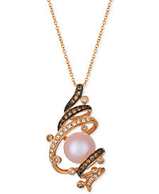 Le Vian Chocolatier® Strawberry Pearl® (9-1/2mm) & Diamond (3/8 ct. t.w.) Pendant Necklace in 14k Rose Gold