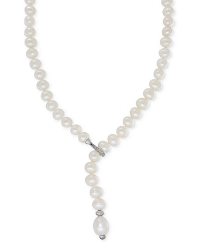 Cultured Freshwater Pearl (7mm) & White Topaz (1/6 ct. t.w.) Lariat Necklace