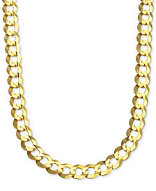 "30"" Curb Link Chain Necklace in Solid 10k Gold"